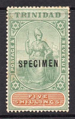 Trinidad 5/- Specimen Stamp c1896-06 Mounted Mint (toning and crease)
