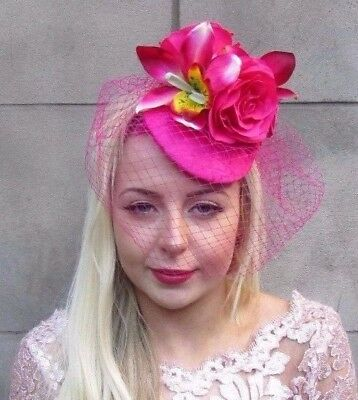 Hot Pink Birdcage Veil Orchid Rose Flower Fascinator Pillbox Hat Hair Races 4686