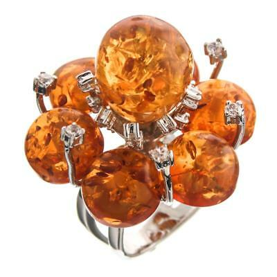 Sparkling 925 Sterling Silver Simulated Amber Cz Cocktail Ring