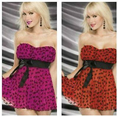 Black Bow & Sparkles Babydoll with matching thong~in 2-Colors~Sparkle Baby!
