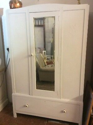Pretty Shabby Chic Double Vintage Wardrobe Painted Winter Grey Mirror & Drawer