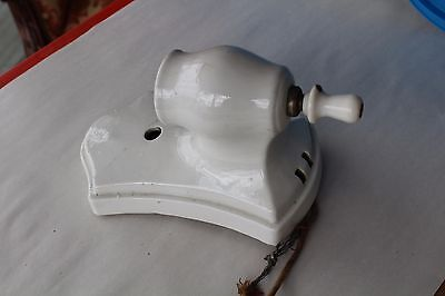 Vintage Art Deco Porcelier Porcelain Bathroom Wall Sconce Light Fixture W/outlet