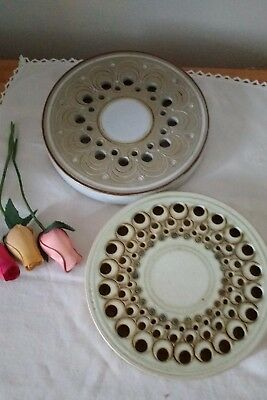 Pair of Studio Pottery from Jersey ~ Ceramic Teapot Stands/Plate Stands