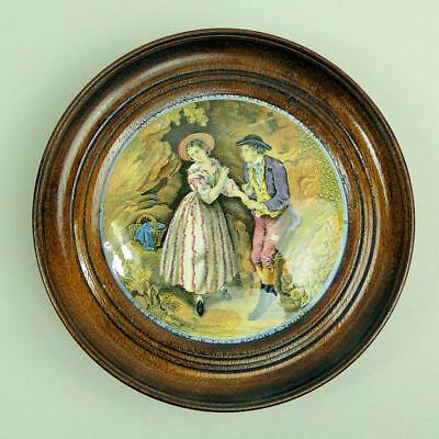 Victorian Framed Coloured Prattware Pot Lid The Second Appeal  C.1870