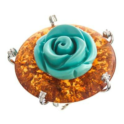 Turquoise-tone Simulated Amber Cz 925 Sterling Silver Cocktail Ring, Size 7-8