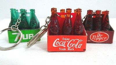 Vintage Coca Cola, 7-Up, And Dr. Pepper Bottle Carton Key Chains (Lot Of 3)