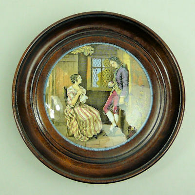 Victorian Framed Coloured Prattware Pot Lid The First Appeal  C.1870