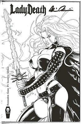 Lady Death Damnation Game 1 INCENTIVE edition sign Brian Pulido COA FREE UK POST