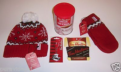 TIM HORTONS Set ~ Toque + Mittens + Keychain + Candy Cane Hot Chocolate + Sleeve