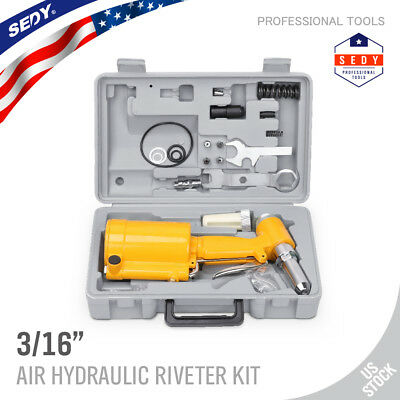 "Pneumatic Air Hydraulic Pop Rivet Gun Riveter Riveting Tool w/Case 1/4"" inlet"