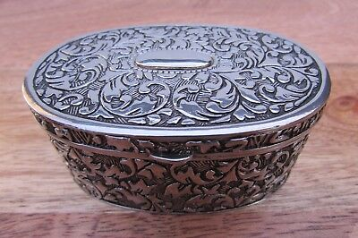 Antique Silver Plated Trinket Box Jewellery Jewelry Vintage
