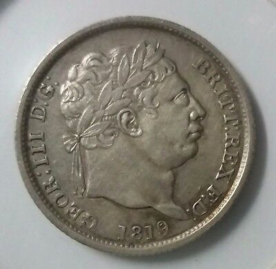 1819 Great Britain George III Silver Shilling 1S Coin