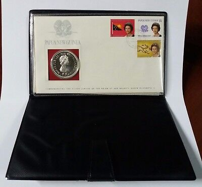 Papua/new Guinea 1977 10 Kina Silver Proof Coin W/1St Day Cover 3 Stamps Coa
