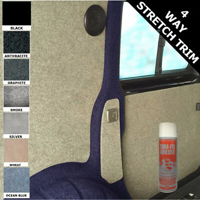 BLACK 10m sq  Van Lining Carpet Kit Super Stretch Inc 5 Cans of Trimfix Adhesive