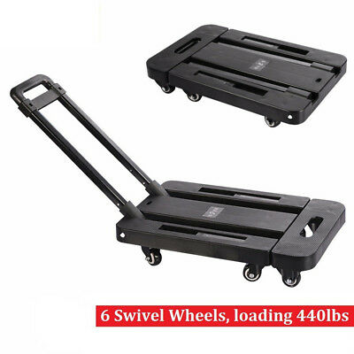 440LB Folding Hand Truck Dolly Collapsible Cart Luggage Trolley with 6 Wheels