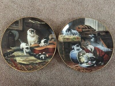 2 Braden 1990, 1991 Cats Mischief Hatbox, String Quartet China Collector Plates