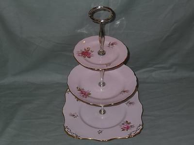 Vintage Tuscan Bone China 3-Tier Hostess Cake Plate Stand Pink Rose