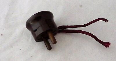 Vintage Bakelite 2 Round Pin 5amp 240v Electric Plug – Brown