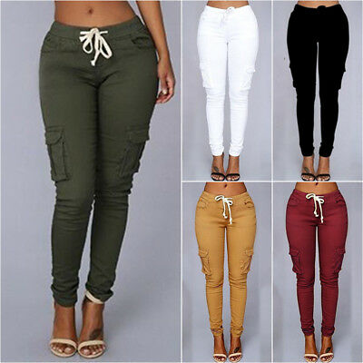 Women Cargo Combat Cotton Army Track Work Wear Pants Stretch Trousers Jeans