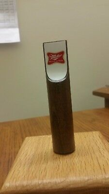 """VINTAGE MILLER HIGH LIFE SHORT WOODEN 4"""" WHITE Beer Tap Handle FREE SHIPPING!"""