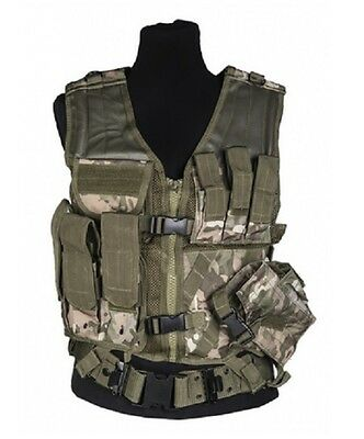 US ACU MOLLE ARMY CROSSDRAW TACTICAL ASSAULT Weste Vest Multitarn