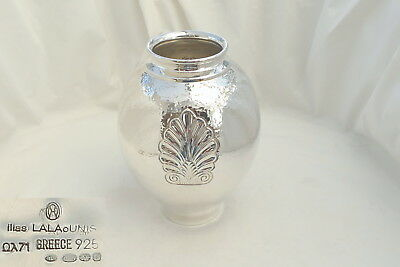 Rare Boxed Iliis Lalaounis Hm Sterling Silver Stylish Planished Vase 1998