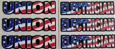 NEW - Union Electrician Stickers / Decals for Your Hard Hat - American Flag