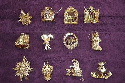 NEW DANBURY MINT Christmas ornaments 23k gold plated complete set for year 2002