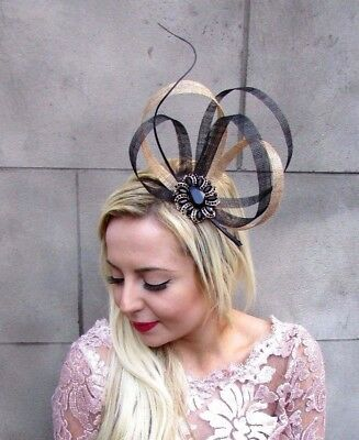 Black Gold Feather Sinamay Fascinator Headband Races Hair Band Cocktail 4707