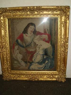 Large C19Th Courting Couple  Tapestry In Heavy Ornate Gilt Gesso Frame