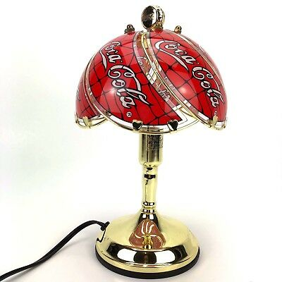 Coca Cola Table Lamp Stained Glass Style Shade Brass Gold Toned Heart Accents