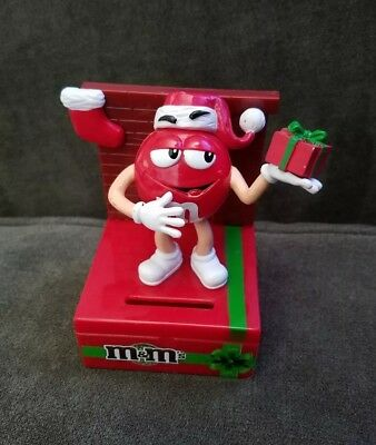 M&M's Red Mini Candy/Coin Bank Christmas Collector