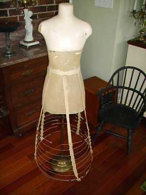 ANTIQUE FRENCH 1800s CHILD DRESS FORM MANNEQUIN DISPLAY/VICTORIAN HOOP SKIRT