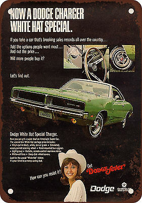 "7"" x 10"" Metal Sign - 1969 Dodge Charger White Hat Special - Vintage Look Reprod"