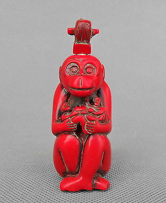 Collectible Chinese Handwork Coral Carve Monkey Hug Child Happiness Snuff Bottle