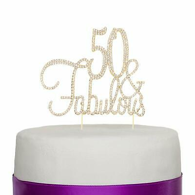 50 & Fabulous Cake Topper for 50th Birthday Party Decoration Supplies (Gold)