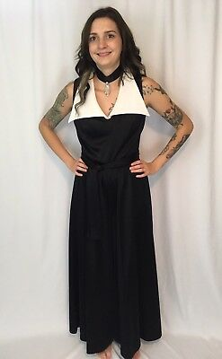 Vintage 60s 70s Belted Jumpsuit Collar Palazzo One Piece Romper With Choker S/M