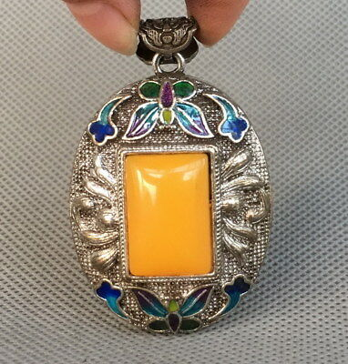 Chinese Handwork Miao Silver Carved Flower Inlay Amber Noble Beautiful Pendant