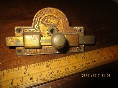 Antique Ashwell's Patent Toilet door lock / Antique Brass Toilet engaged lock