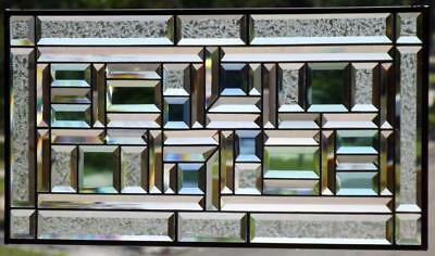 """•MOTION of LIGHT •100 % Beveled Stained Glass Window Panel • ≈ 29 ½"""" x 14 ½"""""""