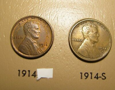 1914 -P S  Lincoln Wheat Cent Penny 1c (lot of 2 VF - Extra Fine XF)