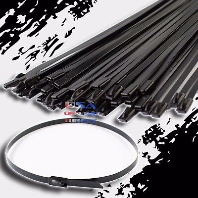 "15"" Coated Stainless Steel Exhaust Wrap UL Locking Cable Zip Ties Metal 100 Pc"