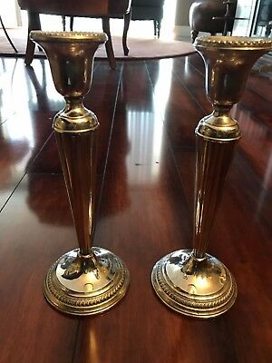 Pair Of Vintage Arrowsmith Sterling Silver Weighted Candlesticks - Lovely!