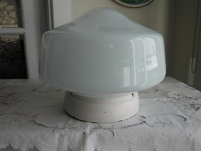 Vtg Milk Glass Large School House-Style Ceiling Light, 11 Inches In Diameter