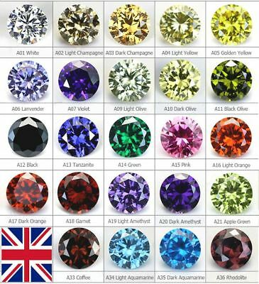 100x Cubic Zirconia Loose Stones Crystal 1mm 1.5mm 2mm 3mm Gem 24 Colours AAAAA