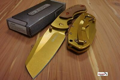 "8"" WARTECH Gold Spring Assisted Open Folding Pocket Knife CLEAVER RAZOR Wood"
