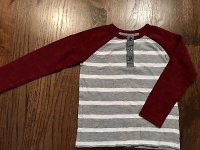 Old Navy Toddler Boys 4T Long Sleeve Maroon/White/Gray Striped Shirt Cotton/Play