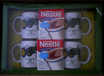 NOS John Deere set of 4 Mugs with Hot Cocoa Mix