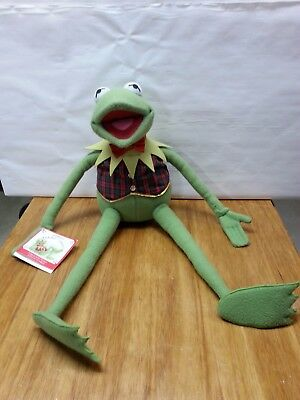 Kermit the Frog Macys Eden Christmas Stuffed Animal Doll Plaid Vest Vintage*****
