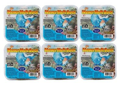 6 Cakes Insect Pine Tree Farm's Never Melt Suet Cake 12 oz. each